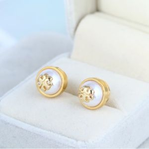 Tory Burch Gold Stud T Logo White Pearl Earrings